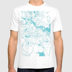 Amsterdam White on Turquoise Street Map White MEDIUM Mens Fitted Tee
