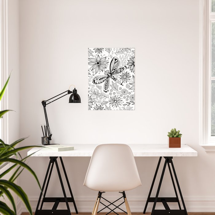 Dragonfly and flowers doodle Poster