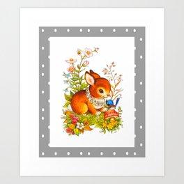 Et du milieu des fleurs surgit un lapin brun Art Print