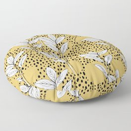Summer leaves fall is coming garden and raindrops ochre yellow Floor Pillow