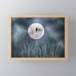 Night Raven Lit By The Full Moon Framed Mini Art Print