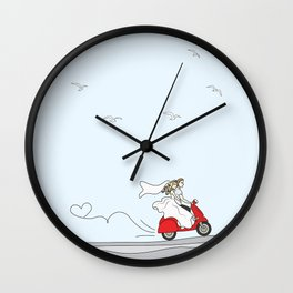 Wedding illustration - bride and groom on a red scooter Wall Clock