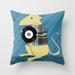 A 90s Record store day, or: a mouse in a classic grunge flennel shirt, with vinyl Throw Pillow