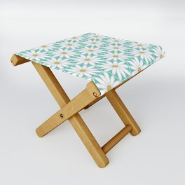Daisy Hex - Turquoise Folding Stool