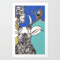 Deer Valentine. Art Print
