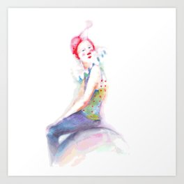 young clown in colorful costume Art Print