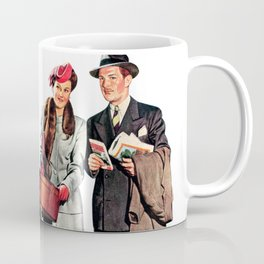 Vintage Illustration of a Traveling Family Coffee Mug