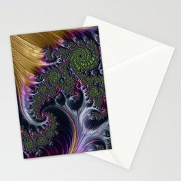 Amazing Gorgeous Intricate Elegant Fractal Flourish Swirls Gold Purple Colorful Abstract Stationery Cards
