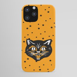 Vintage Type Halloween Black Cat Face Stars Orange iPhone Case
