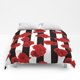 Red poppies on a black and white striped background. Comforters