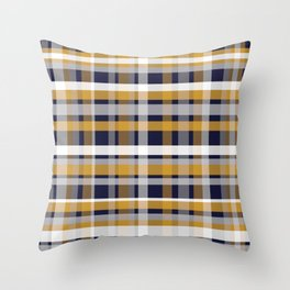 Modern Retro Plaid in Mustard Yellow, White, Navy Blue, and Grey Throw Pillow