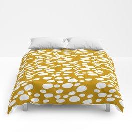 Monstera Leaf Hole Pattern - mustard yellow Comforters