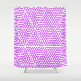 Heliotrope - violet - Geometric Seamless Triangles Pattern Shower Curtain