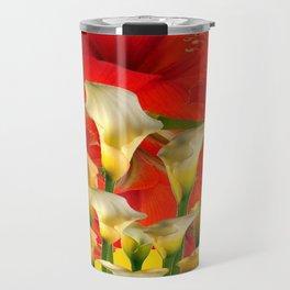 RED FLORALS & YELLOW CALLA LILIES BLACK ART Travel Mug