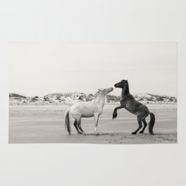 Wild Horses 4 - Black and White Rug