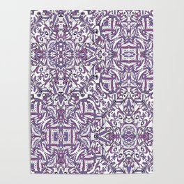 Colorful Intricate Geometric Tribal Pattern Poster