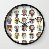 1d Wall Clocks featuring Emoji 1D by Cyrilliart