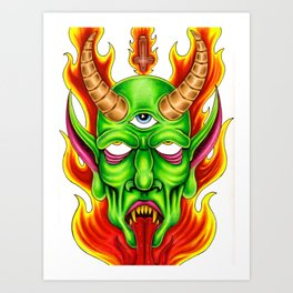 Third Eye Fire Demon Art Print
