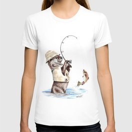 """"""" Natures Fisherman """" fishing river otter with trout T-shirt"""