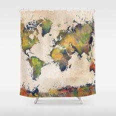 World Map green splash Shower Curtain