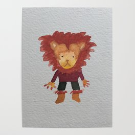 Lion Jungle Friends Baby Animal Water Color Poster