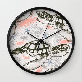 Turtles under the sea Wall Clock
