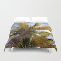 coconut wishes Duvet Covers featuring Coconut Tree by suzyoconnor