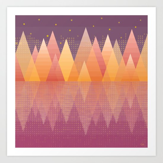 Geometric Lake Mountain III - Fall Art Print