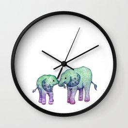 Baby Elephant Love - ombre mint & purple Wall Clock