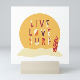 Live Love Surf Surfer girl slogan Mini Art Print