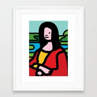 mona lisa Framed Art Prints featuring Mona Lisa by Dog A Day