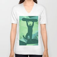 snowboard V-neck T-shirts featuring Snowboard by B Remembered Designs