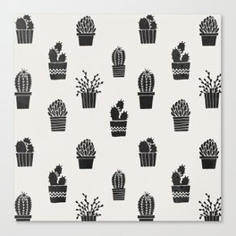 Southwestern Stamped Potted Cactus + Succulents Canvas Print