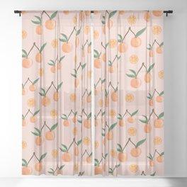 Fruity Oranges Pattern in Peach Pink  Sheer Curtain