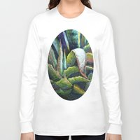 southwest Long Sleeve T-shirts featuring Agave Cactus Southwest Style Painting by SharlesArt