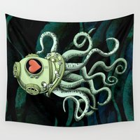 diver Wall Tapestries featuring octopus diver in love by Chicca Besso