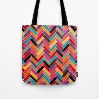 herringbone Tote Bags featuring herringbone by Sharon Turner