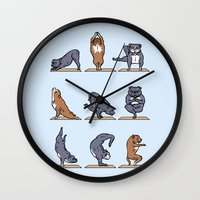 bull terrier Wall Clocks featuring Bull Terrier Yoga by Huebucket