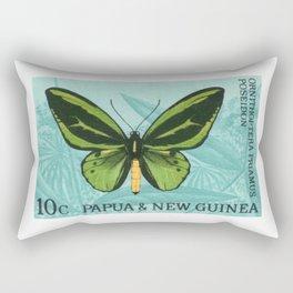 1966 PAPUA & NEW GUINEA Green Birdwing Butterfly Stamp Rectangular Pillow
