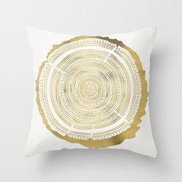 Douglas Fir – Gold Tree Rings Throw Pillow