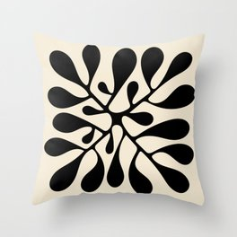 Matisse Inspired Abstract Cut Outs black Throw Pillow