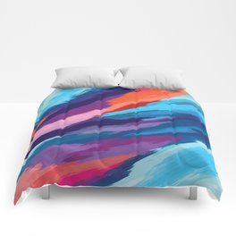 Colorful Brushstroke Digital Painting Comforters