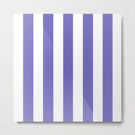 Toolbox violet - solid color - white vertical lines pattern Metal Print