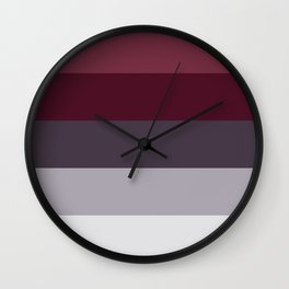 scandinavian moody winter fashion dark red plum burgundy grey stripe Wall Clock