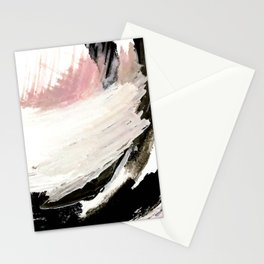 Crash: an abstract mixed media piece in black white and pink Stationery Cards