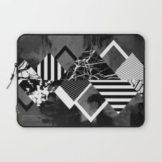 STAND OUT! In Black And White - Abstract, textured geometry! Laptop Sleeve