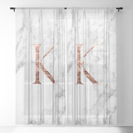 Monogram rose gold marble K Sheer Curtain