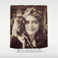thundercats Shower Curtains featuring Mary Pickford - Vintage Lady with kitten by Augustinet