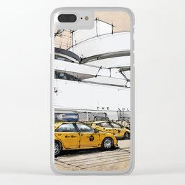 Guggenheim New York, umbrellas and yellow cabs. Sketch Clear iPhone Case