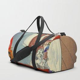 Tsuchiya Koitsu A Winter Day at The Temple Asakusa Vintage Japanese Woodblock Print Duffle Bag